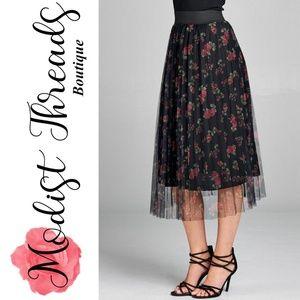 Modist Threads Skirts - Pleated Floral Print Mesh Midi Skirt